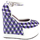 SHOW STORY Woman Abstract Geometry Print Ankle Strap Wedge Platform Sandals