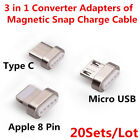 20x Magnetic Snap Converter Adapter of Data Cable Appl 8-Pin Micro USB Type C