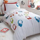 Bluezoo Kids' White 'Headphones' Reversible Duvet Cover And Pillow Case Set