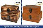 2pcs Crafted Wooden Boxes Treasure Cabinet Archival Organ...