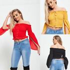 New Womens Ladies Lace Up Top Off Shoulder Elasticated Frill Shirt Party