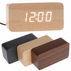 Modern Wooden Wood USB/AAA Digital LED Alarm Clock Calendar Thermometer BY