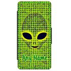 PERSONALISED ALIEN FACE PRINT SAMSUNG GALAXY S5 S6 S7 S8 PU LEATHER FLIP CASE