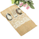 2-100pcs Burlap Cutlery Bags Hessian Lace Pocket Tableware Holder Wedding Decor