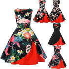 50s Women Sleeveless Floral Rockabilly Dress Party Housewife Dress New Year Gift