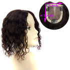 "Base 4''x4.7"" Mono Net Curly Womens Mens Virgin Human Hair Topper Toupee"