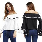 Women Off Shouder Flare Sleeve Shirt Lady Casual Beach Loose Tops Blouses New