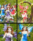 PRETTY FAIRY FIGURINE ORNAMENT WITH GLITTER METAL WINGS DECORATION RESIN