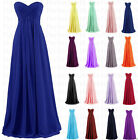 New Long Chiffon Formal Ball Gown Evening Party Prom Bridesmaid Dress Size 6-18