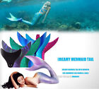 Dream Swimmable Mermaid Tail with Monofin Swimming fins women Girls Swimsuit AU