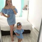 Family Clothes Mother Daughter Matching Off Shoulder Ruffle Mini Dress Outfit