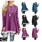 Fashion Womens Sexy Tops Lace Long Sleeve Blouse Dress Hem Tunic Loose Jumper US