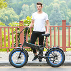 20'' Aluminum Alloy Electric Bike Beach Cruiser Folding Bicycle Fat Tire LED 48V