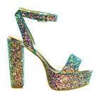 Admire09 Glitter Block Heel Platform Open Toe Strappy Evening Party Dress Sandal