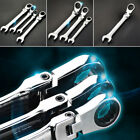 7mm spanner - 6mm-24mm 180° Flexible Pivoting Head Ratchet Spanner Wrench Metric Repairment x1