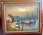 Vintage Nautical Original Oil Paining Artist Signed Kelland Boats Harbor Seaside