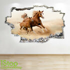 WILD HORSES WALL STICKER 3D LOOK - BEDROOM LOUNGE NATURE ANIMAL WALL DECAL Z106