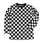 Child RAD 80's Long Sleeve PUNK Checkered Shirt Black White S M L XL Boys Girls