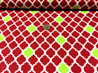"BTY~FABRIC FINDERS 100% COTTON FABRIC~ LARGE QUATREFOIL ~ RED & LIME GREEN ~59""W"