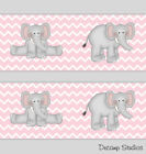 Внешний вид - Elephant Chevron Girl Nursery Pink Gray Wallpaper Border Baby Wall Art Decals