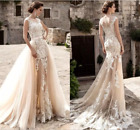 New Champagne Lace A Line Wedding Dresses 2018 Sheer Tulle Applique Bridal Gown