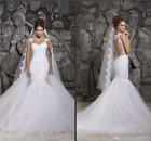 Sexy Mermaid Wedding Dresses 2018 Sheer Neck Lace Appliques Illusion Bridal Gown