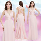 Ever-pretty US Long Pink V-neck Bridesmaid Wedding Dresses Evening Gowns 09008