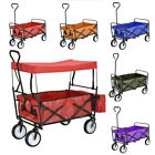 Foldable Pull Along Wagon Trailer Hand Cart Transport Trolley with/without Roof