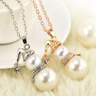 Gift Jewelry Snowman Crystal Christmas Long Necklace Women Pendant Chokers