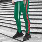 US Men Side Striped Drawstring Zipper Pants Trouser Casual Gym Techno Truck Pant