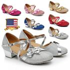 kids gold shoes - Girls Kids Mary Jane Glitter Low Heel Party Wedding Sandals Dress Shoes Sequin L