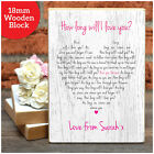 How Long Will I Love You PERSONALISED Lyrics Mothers Day Gifts Wooden Blocks