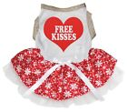 Free Kisses Gold White Cotton Top Red Snowflake Tutu Pet Dog Puppy Dress