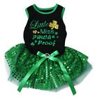 Little Miss Pinch Proof Black Cotton Top Green Sequins Tutu Pet Dog Puppy Dress