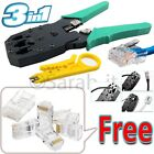 RJ45 Network Lan Cable Wire Crimping Crimper Crimp Tool + Free Connector End
