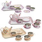 Girls Kids Vintage Tin Tea Set Role Play Toy - Teapot Cups Saucers Tray NEW