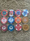 12 Uncirculated $1 & $5 Las Vegas Casino Chips Encased In Acrylic Holders #2