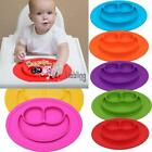 Cartoon Smile Shape Kids Divided Suction Plate Baby Led Weaning Silicone LEBB