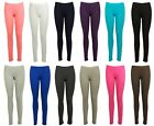 Kids Girls Childerns Full Length Plain Cotton Leggings Pants Stretchy All Ages