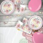 Wedding Floral Painted Flowers Party Tableware, Banner & Favour Bags