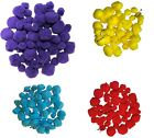 Poms Packs Fluffy Craft Pompoms colours Red Yellow Blue Mixed Animal And Tinsel
