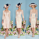 discount mother of the bride dresses tea length -  Luxury Pink Lace Mother Of Bride Dress Beading Jacket Chiffon Coat Knee length