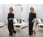 UK Fashion Women Holiday Off Shoulder Maxi Split Ladies Summer Beach Party Dress New with tags