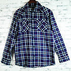Mens 100% Pure Cotton Flannelette Flannel Navy Blue Red Check Shirt Sz S-XXL