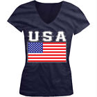 USA Flag Colors Font United States Country Soccer America Juniors V-Neck T-Shirt image