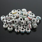 5 pieces Czech Crystal Tibetan Silver Rondelle Charm Beads for European Bracelet