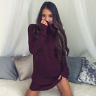 Womens Sexy Winter Long Sleeve Jumper Sweater Tops Slim Party Bodycon Mini Dress