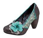 Joe Browns Couture Sassy Court Shoe UK3-9 EU36-42 Petwer & Green Glitter Corsage