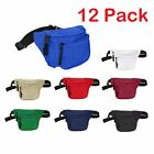 DALIX Waist Bag Fanny Pack with 3 Pockets Travel Waist Pouch Adjustable 12 PACK
