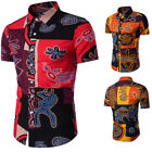 UK Men Collared Shirts Hawaii Holiday Short Sleeve Tops Beach Party Casual Shirt